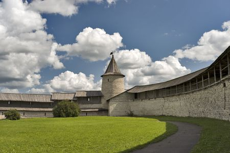 Fortress of ancient Pskov kremlin in Russia inside
