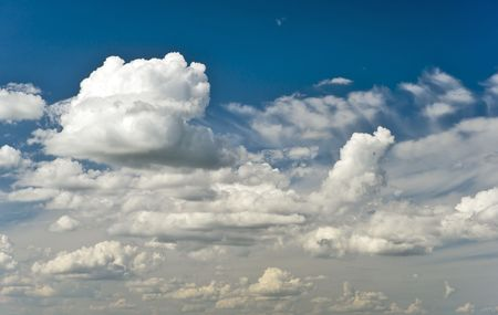 openair: Picturesque cumulus clouds in blue sky Stock Photo