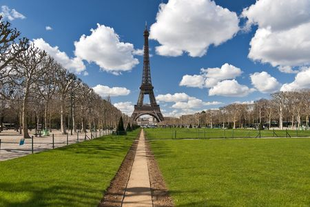 Tour Eiffel view in spring through the Mars field Stock Photo