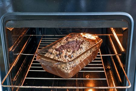 Cake in the open oven