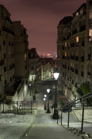 Paris view from Montmartre staircase at night