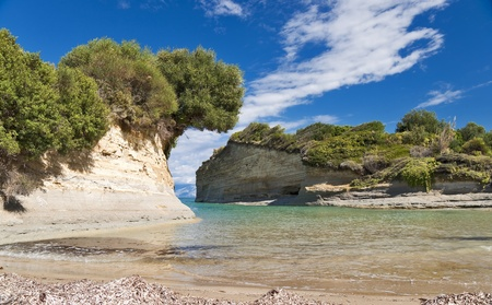 Seashore landscape of Canal damour in Corfu island Stock Photo