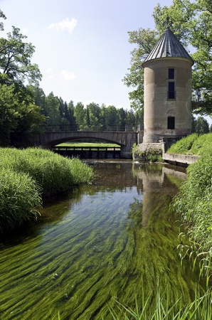 waterweed: Water mill and the bridge over river with  waterweed in front
