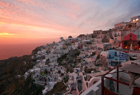 ia: Santorini sunset in Ia village Stock Photo