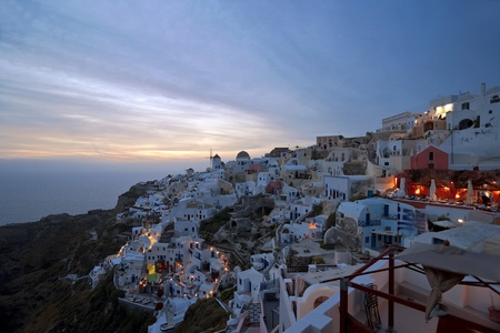 Santorini sunset in Ia village  photo