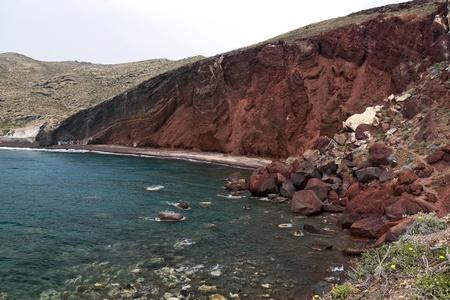 Red beach with rockfall in Santorini Stock Photo - 13079946