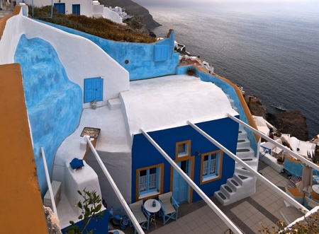 Santorini house and the yard with sea view