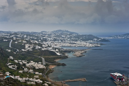 Mykonos island view with central part of the town, parking places and new port Stock Photo - 13400651