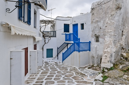 Old and new buildings in Mykonos town