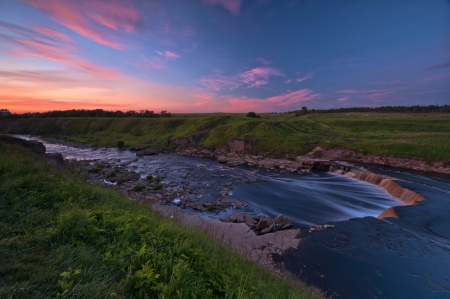 riffle: Tosna river riffle adown in twilight Stock Photo