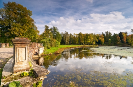 Old stone classical bridge and the river with duckweed on surface in the autumn park Stock Photo