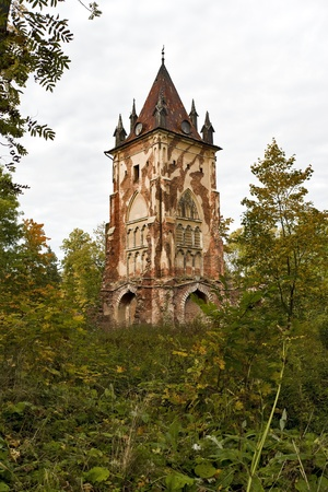 wheather: Gothic tower in the thicket of trees, bushes and grass in cloudy autumn wheather Stock Photo