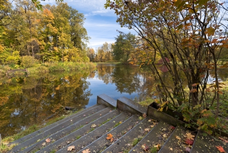 Stairway to the autumn pond with leaves Stock Photo