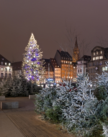 Christmas tree with decoration in the city square among houses