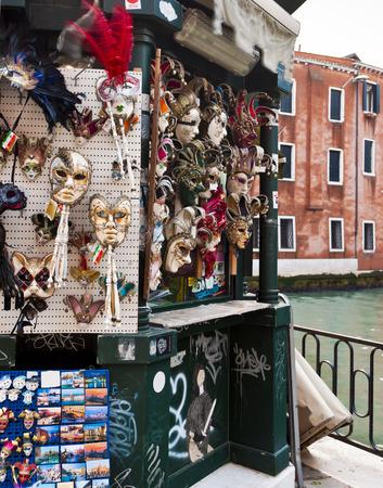 strret: Carnival masks and attributes in Venice souvenir shop