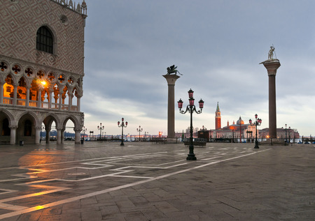 theodor: Piazza San Marco with Doges Palace, San Giorgio Maggiore Church and S Theodor and S Marco columns in frontl in winter morning