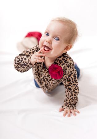 bebe gateando: Hermoso bebé gateando en cuatro patas Filmada en un estudio aislado en blanco se centran en la cara