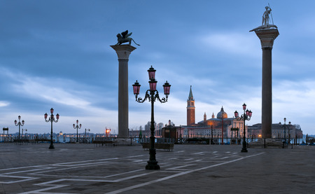 piazza san marco: Piazza San Marco with S.Theodor and S.Marco columns and Giorgio Maggiore Church in winter morning