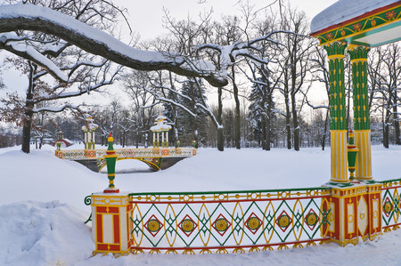pushkin: Winter Aleksandrovsky park with multicolored Chinese Bridges over canal and snow covered trees