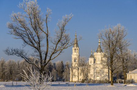 hoar: Church with bell-tower amongst hoar frosted trees in cold winter day