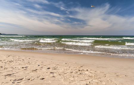 Sandy beach and waves of Baltic sea in sunny spring day