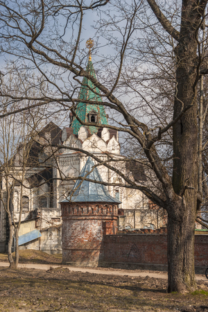 Theodors town buildings of white stones and red bricks in early spring, Pushkin, Russia Stock Photo