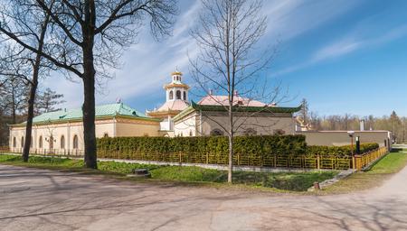China town in spring Aleksandrovsky park, buildings and pagoda, Pushkin, Russia