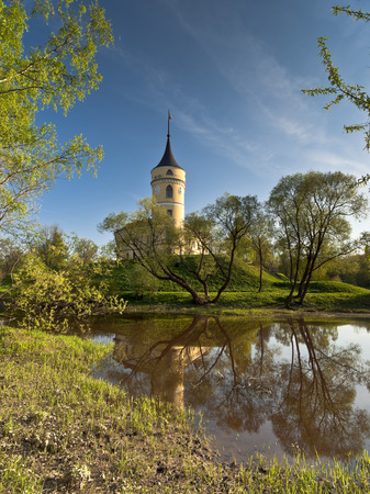 Mariental Castle in an early spring day with reflection in water