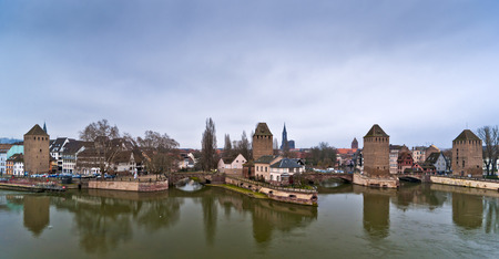 Towers and bridges, panorama of Ponts Couverts, historical part of Strasbourg, France