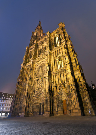 Cathedral of Strasbourg with illumination at night, Strasbourg, Alsace, France