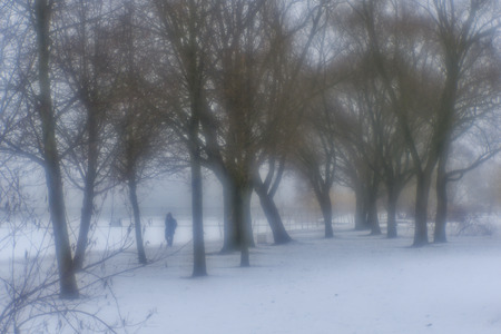 Winter mist in the park next to the river with lonely mans figure, monocle lens