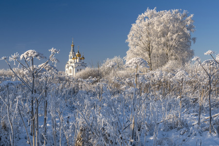 Orthodox Church with golden cupolas and hoar frosted bushes in cold winter day Stock Photo
