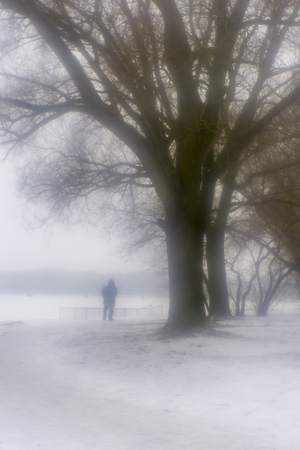 Winter mist in the park next to the river with trees and lonely senior mans figure, monocle lens Stock Photo