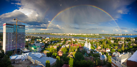 voronezh: View to the rainbow above Voronezh from the roof