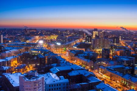 voronezh: Voronezh from rooftop, winter night, prospect of Revolution