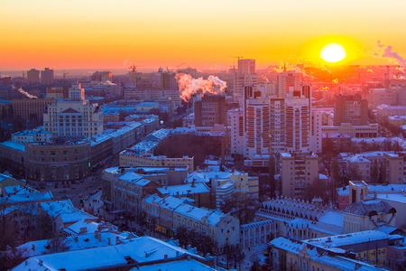 Voronezh from rooftop, evening sunset, prospect of Revolution