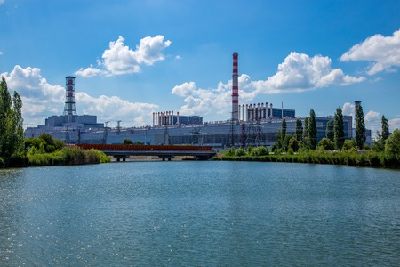 Kursk Nuclear power plant, view from  water reservoir