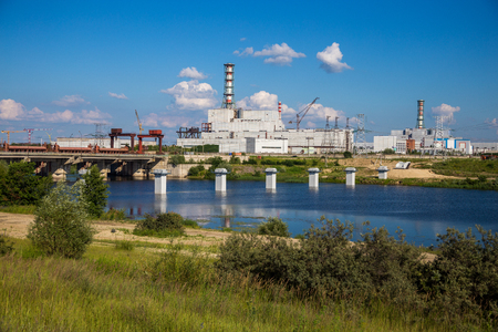npp: View to the bridge and Kursk Nuclear Power Plant Stock Photo