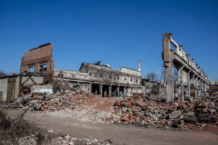 bombing: Ruins of Agricultural machinery plant named after Stalin in Voronezh