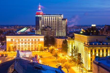 Night view to Voronezh center, Lenin Square and Ramada Plaza Stock Photo