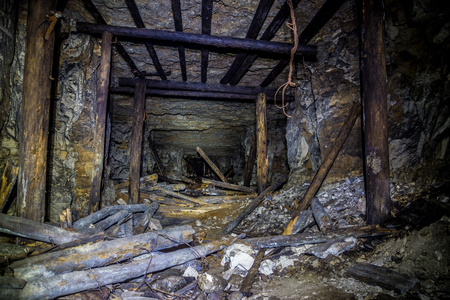 timbering: Old wooden timbering in an abandoned limestone mine in Sock, Samara Region Stock Photo