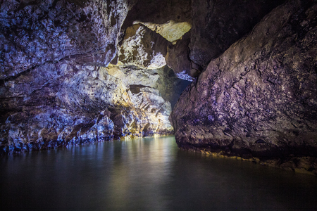 Underground river in flooded cave Head of Otap, Abkhazia, Georgia Stock Photo