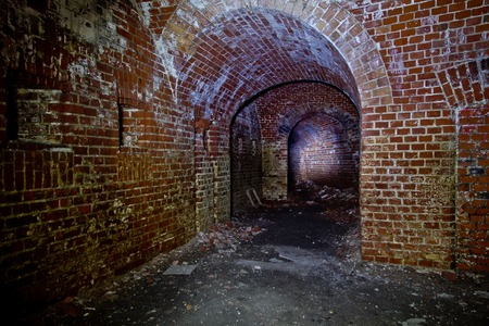 Old underground passage under german fortification castle Stock Photo