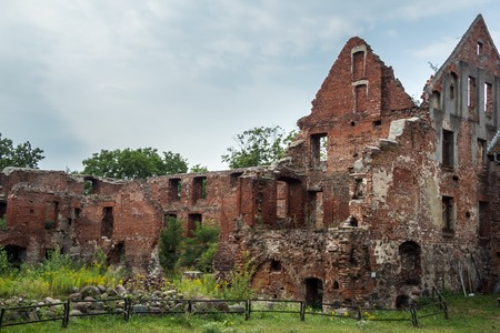 Ruins of old Prussian Insterburg castle, Chernyahovsk, Kaliningrad region Stock Photo
