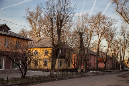 Old Soviet two storey houses built by German prisoners after World War II in the late 40s and early 50s. Voronezh, Russia