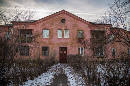 storey: Old Soviet two storey houses built by German prisoners after World War II in the late 40s and early 50s. Voronezh, Russia