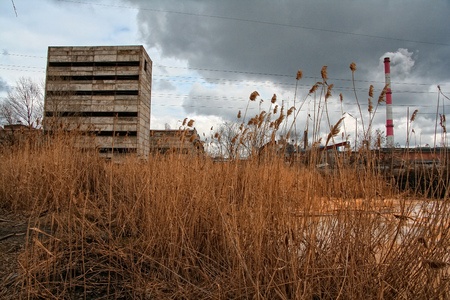 Autumn view to abandoned Voronezh industrial area.  Stock Photo