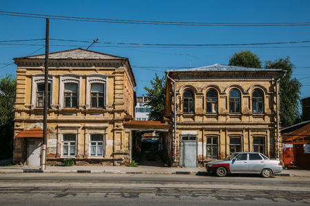 storied: Old historical two-storied merchant houses in Samara