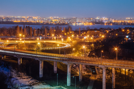 Voronezh highway. Traffic intersection with overpass and bridge, Known as road to nowhere Stock Photo