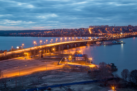 Evening Voronezh cityscape from rooftop. View of the bridge over the Voronezh Water Reservoir Stock Photo